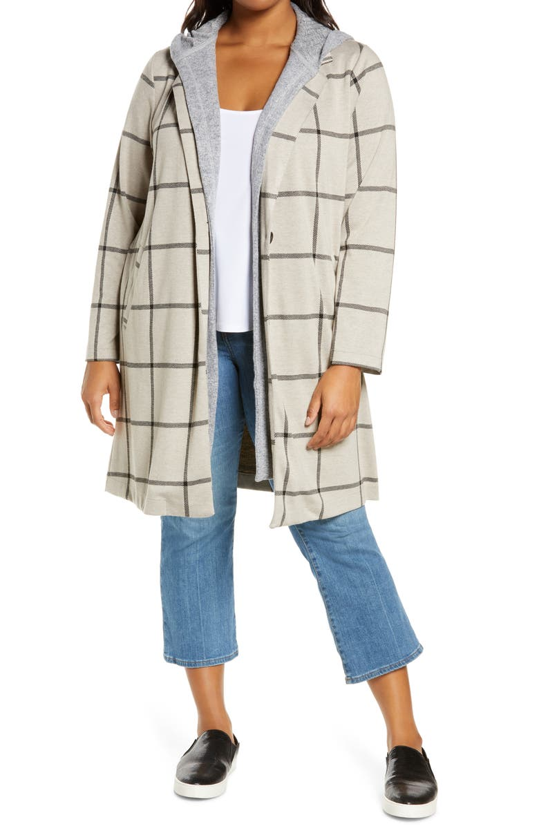 MELLODAY Knit Coat with Removable Hood, Main, color, TAUPE/ BLACK WINDOWPANE