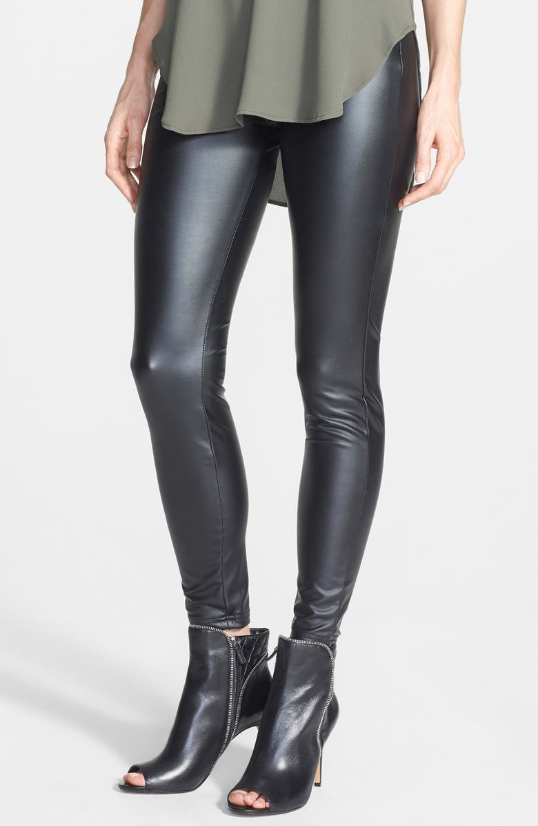 HUE 'Leatherette' Leggings, Main, color, 001