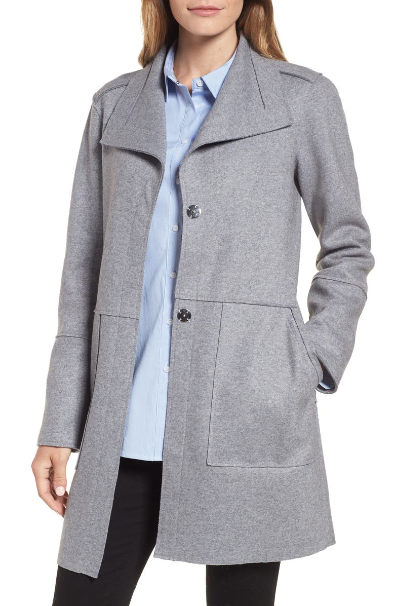 KENNETH COLE NEW YORK Envelope Collar Wool Blend Knit Coat, Main, color, 033