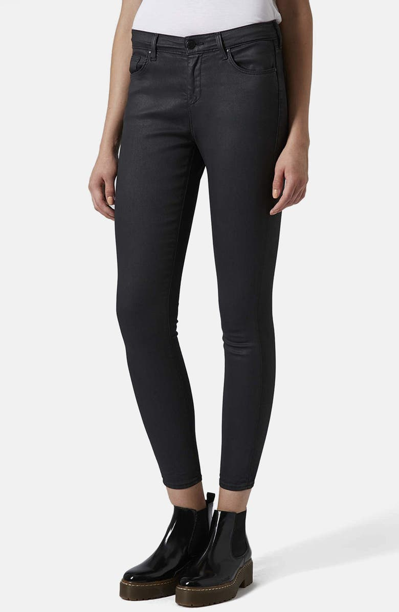 TOPSHOP Moto 'Leigh' Coated Skinny Jeans, Main, color, 001
