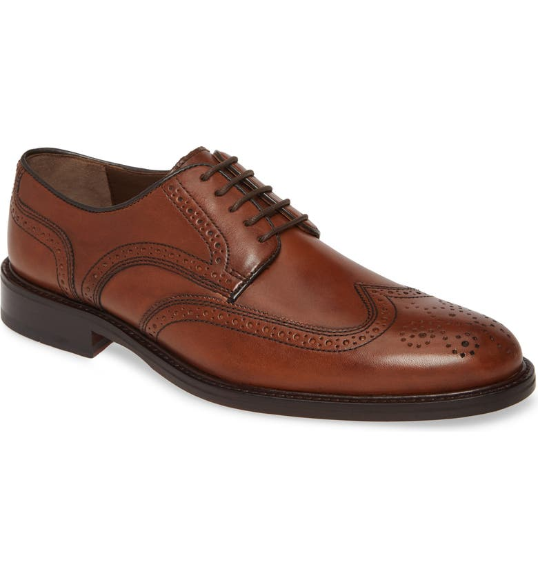 JOHNSTON & MURPHY Daley Wingtip Derby, Main, color, TAN LEATHER