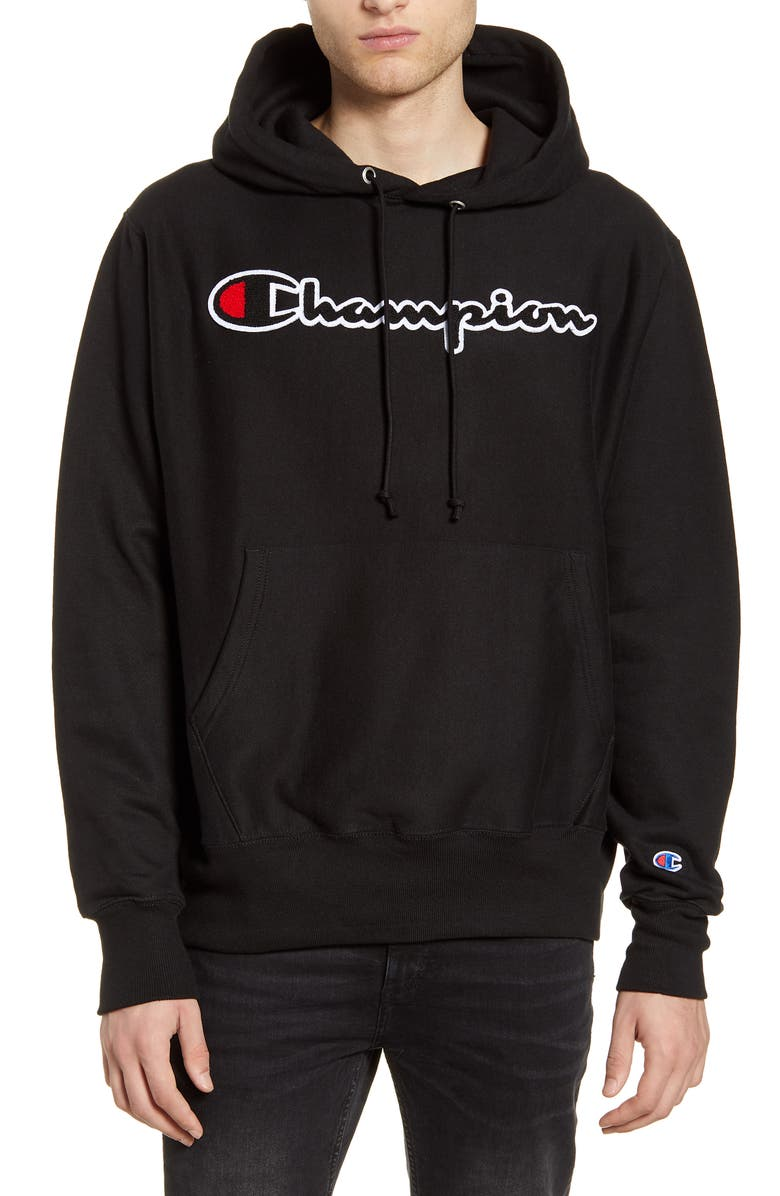 CHAMPION Reverse Weave<sup>®</sup> Chenille Logo Hoodie, Main, color, 001