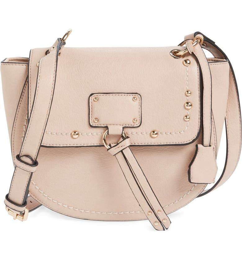 SOLE SOCIETY Studded Faux Leather Crossbody Bag, Main, color, BLUSH