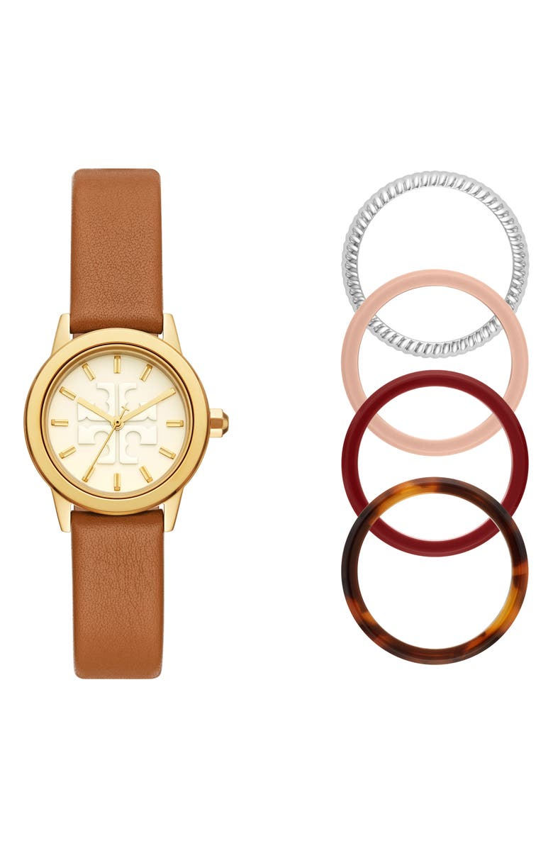 TORY BURCH Gigi Leather Watch & Top Rings Set, 28mm, Main, color, GOLD/ LUGGAGE