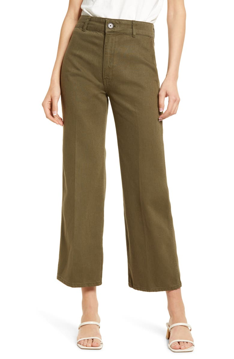 REFORMATION Marine High Waist Relaxed Fit Ankle Wide Leg Jeans, Main, color, ARMY