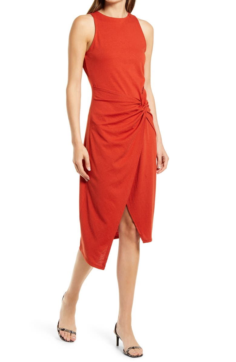 CHELSEA28 Sleeveless Twist Detail Dress, Main, color, RED PERSIMMON