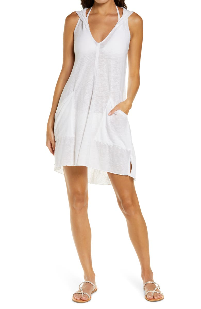 BECCA Beach Date Hooded Cover-Up Dress, Main, color, WHITE
