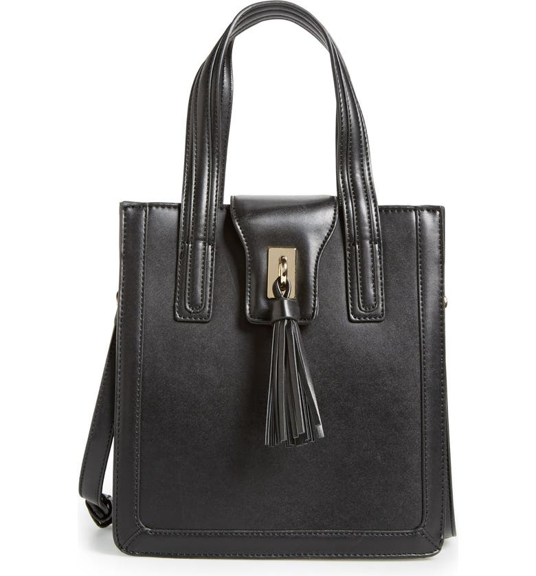 SOLE SOCIETY 'Mini Hayes' Structured Faux Leather Tote, Main, color, 001