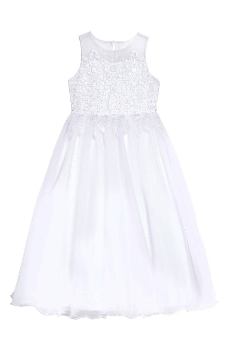 US ANGELS Embroidered Bodice Tulle Communion Dress, Main, color, White