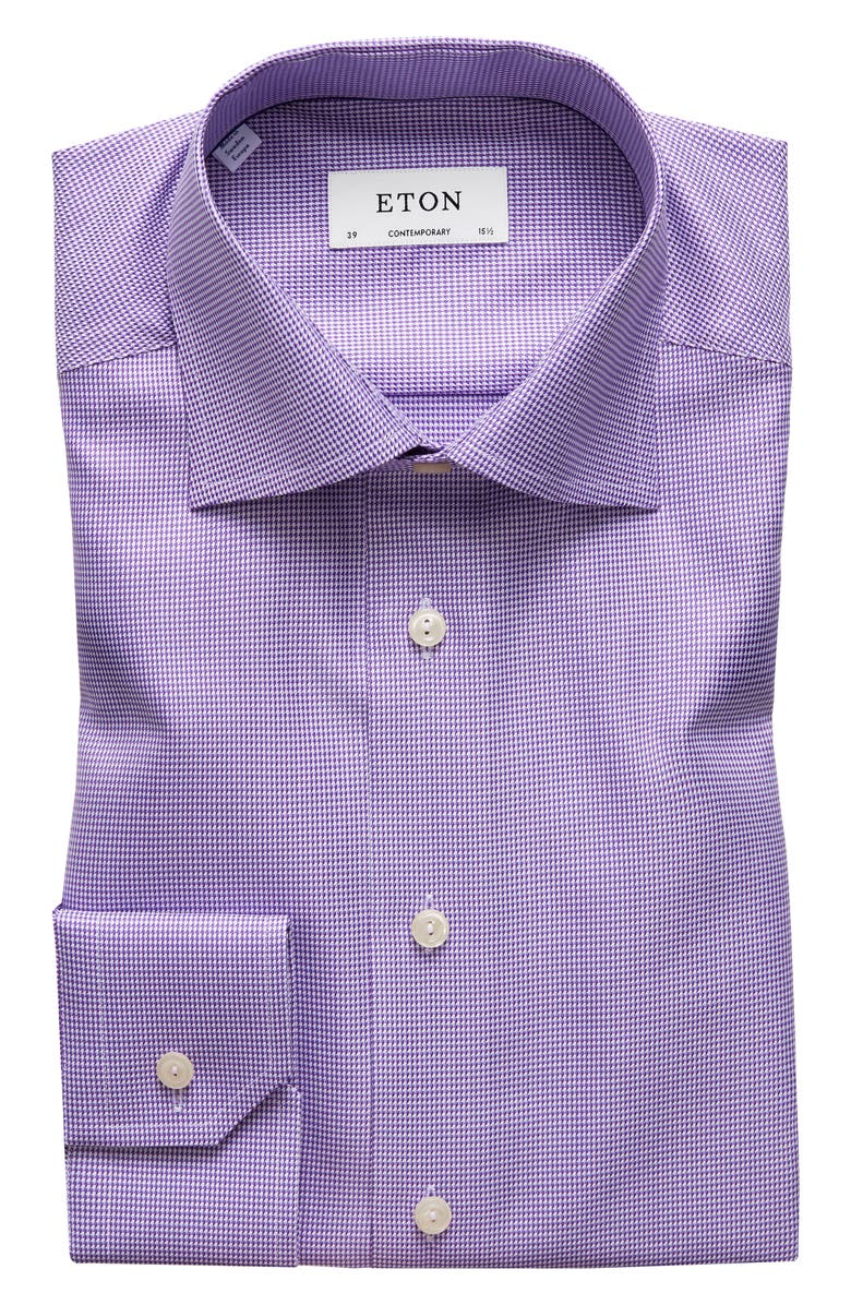ETON Contemporary Fit Houndstooth Dress Shirt, Main, color, PURPLE
