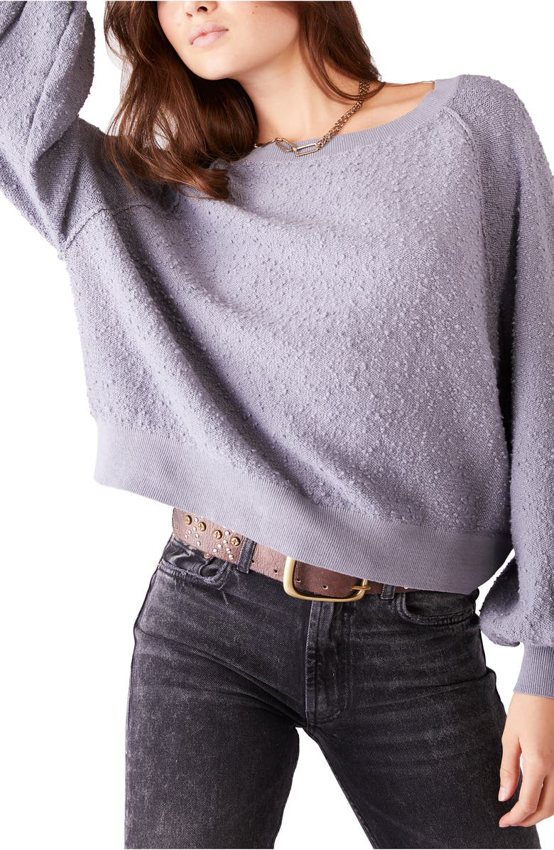 FREE PEOPLE Found My Friend Bouclé Pullover, Main, color, FRENCH GREY