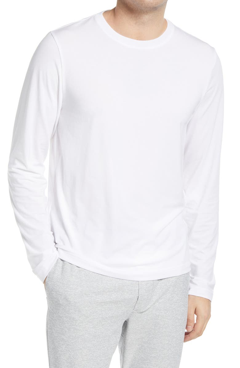 OUTDOOR VOICES Ready Set Men's Long Sleeve T-Shirt, Main, color, WHITE