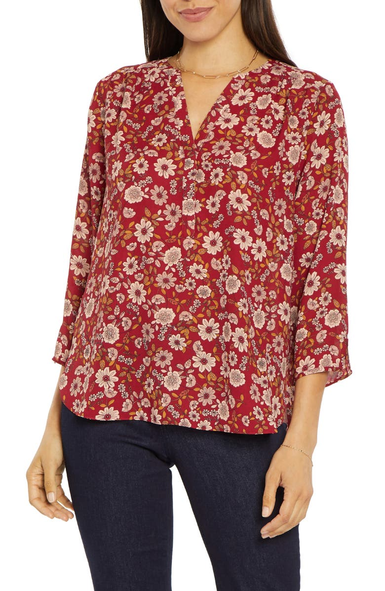 CURVES 360 BY NYDJ Perfect Blouse, Main, color, KELSEY BLOSSOMS