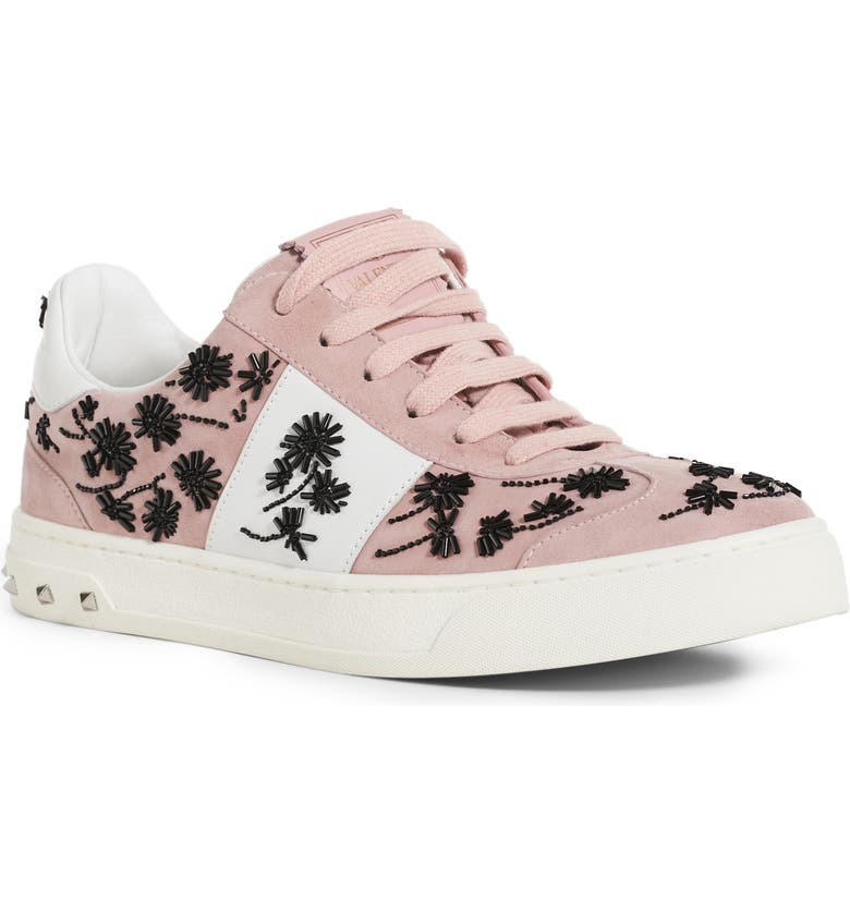 VALENTINO Floral Embellished Leather Sneaker, Main, color, LOTO/ BIANCO
