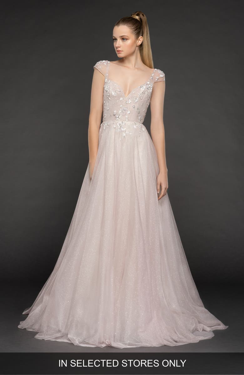 BLUSH BY HAYLEY PAIGE Amour Tulle A-Line Gown, Main, color, 650