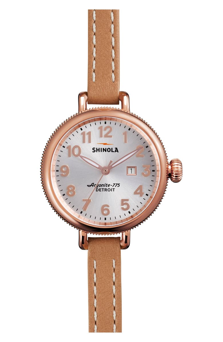 SHINOLA The Birdy Leather Strap Watch, 34mm, Main, color, NATURAL/ SILVER/ ROSE GOLD