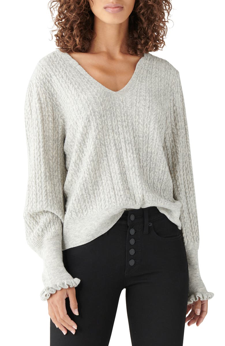 LUCKY BRAND Relaxed Peasant Sweater, Main, color, HEATHER GREY