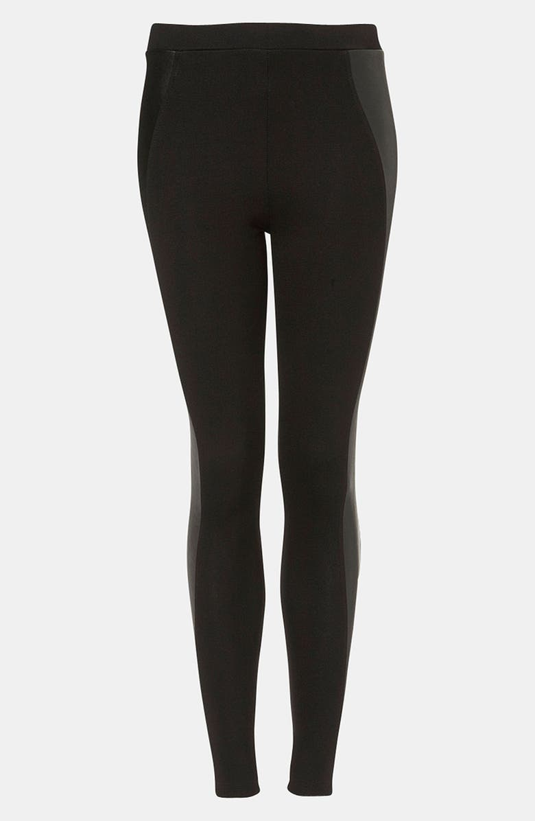 TOPSHOP Faux Leather Panel Leggings, Main, color, 001