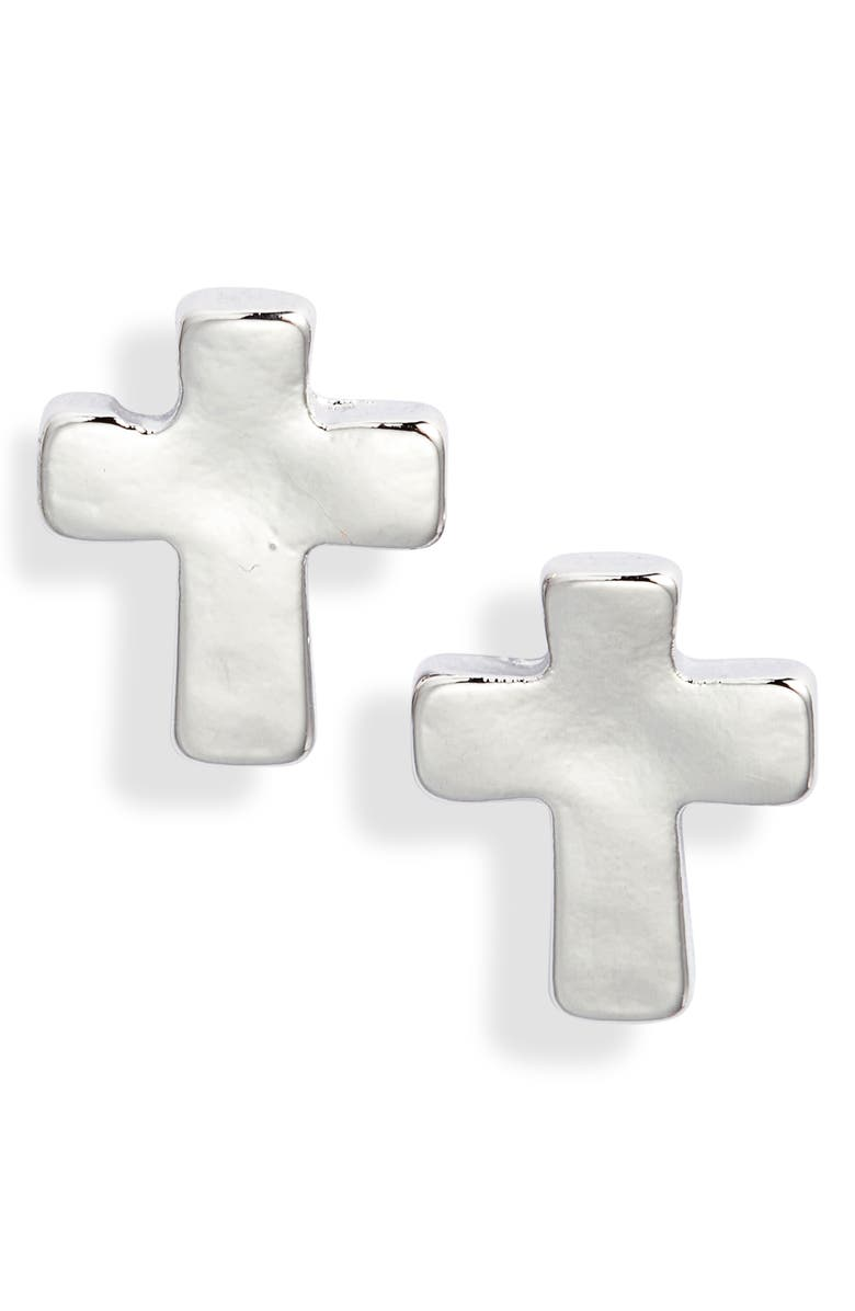 ABOUND Small Cross Stud Earrings, Main, color, SILVER