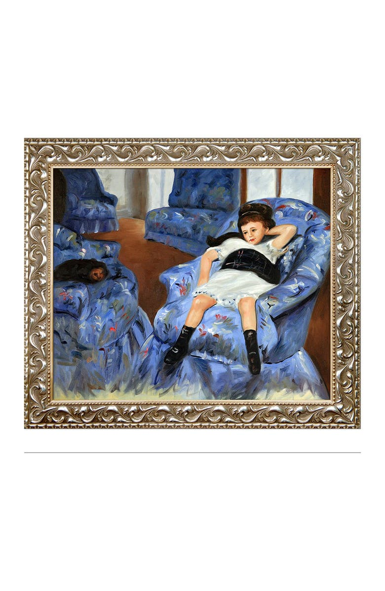 """OVERSTOCK ART Little Girl in a Blue Armchair with Rococo Silver , 25.5"""" x 29.5"""", Main, color, MULTI"""