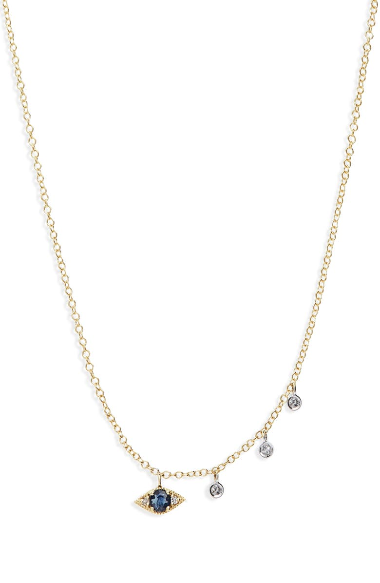 MEIRA T Evil Eye Diamond & Sapphire Necklace, Main, color, 710