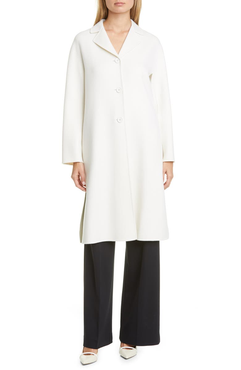 MAX MARA Aretusa Belted Wool Blend Coat, Main, color, MILK