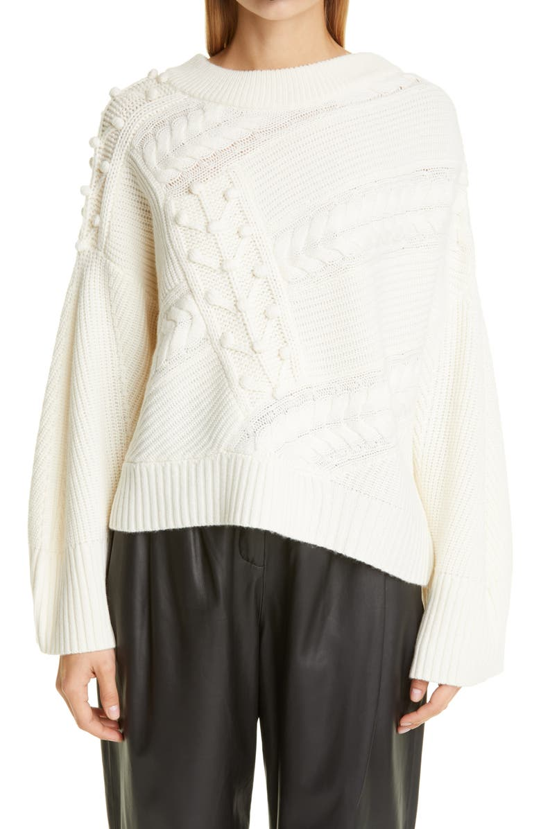 LOULOU STUDIO Cable Popcorn Oversize Wool & Cashmere Sweater, Main, color, IVORY