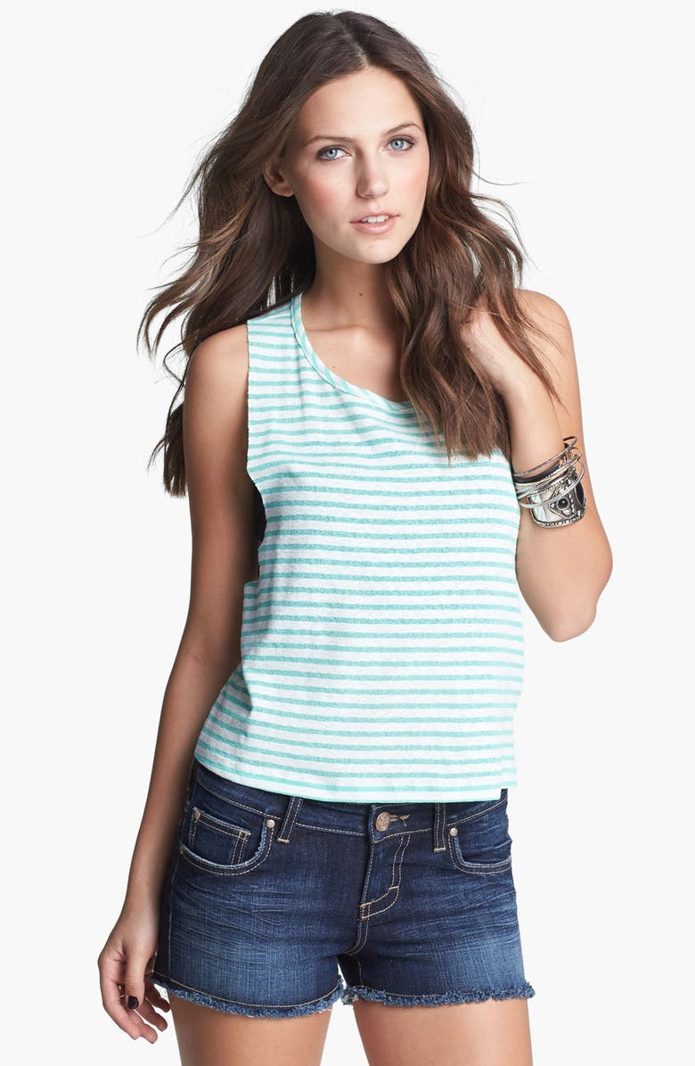 PAINTED THREADS Racerback Stripe Crop Muscle Tank, Main, color, MINT