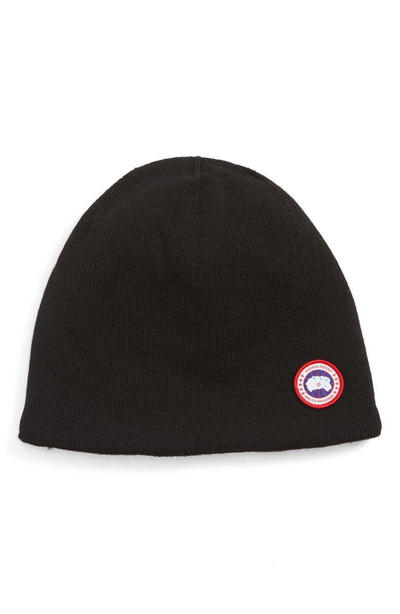 CANADA GOOSE Standard Wool Blend Beanie, Main, color, 001