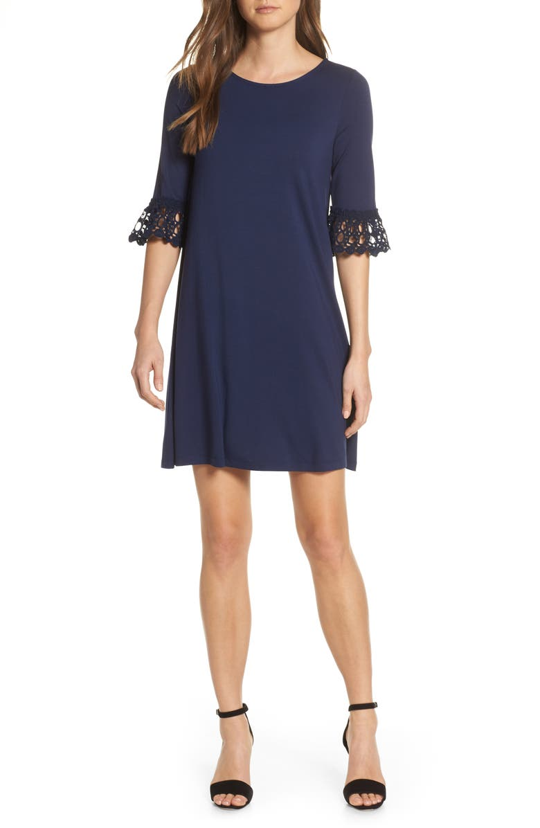 LILLY PULITZER<SUP>®</SUP> Ophelia Crochet Cuff Shift Dress, Main, color, 408