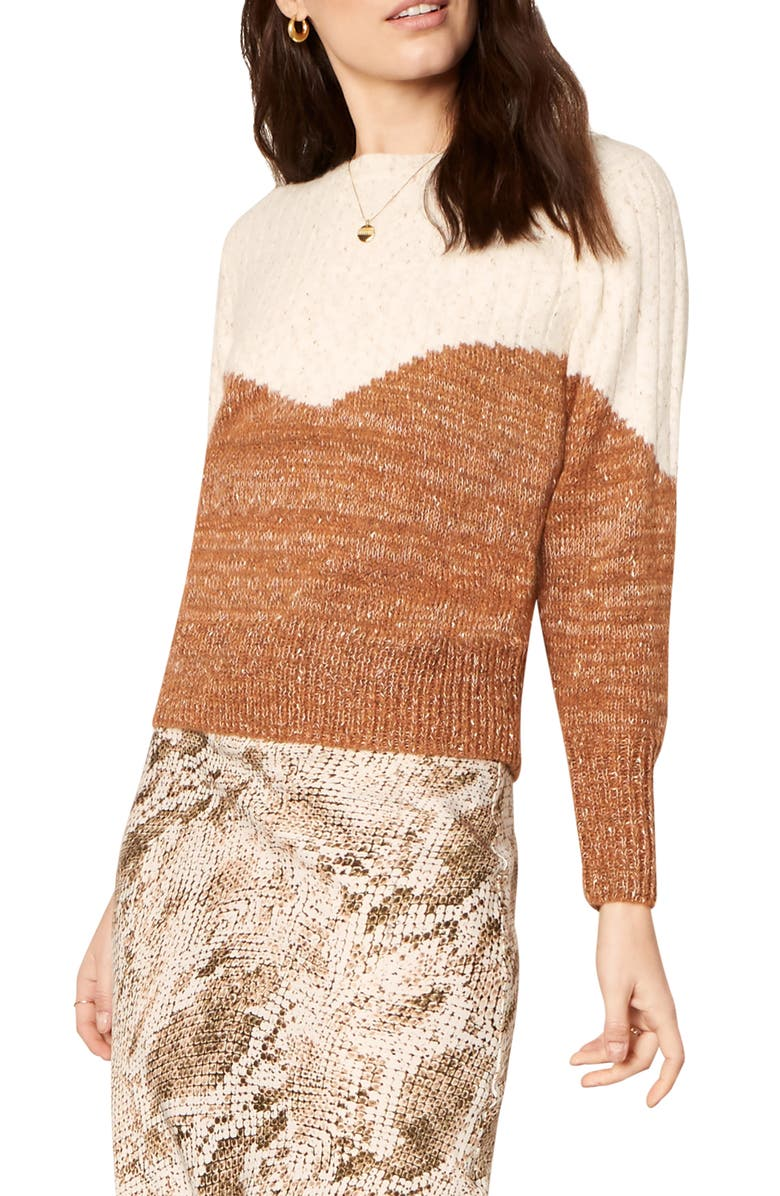 CUPCAKES AND CASHMERE Faith Bicolor Sweater, Main, color, OATMEAL