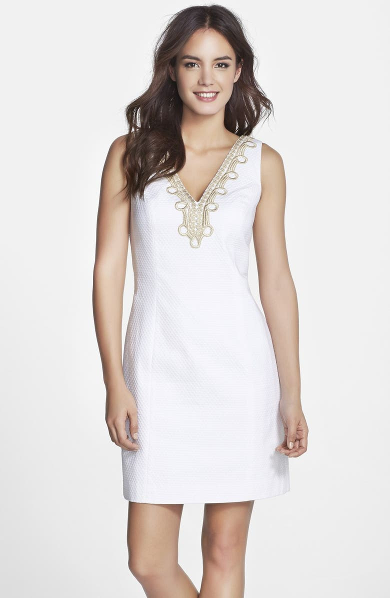 LILLY PULITZER<SUP>®</SUP> 'Bentley' Lace Trim Shift Dress, Main, color, RESORT WHITE