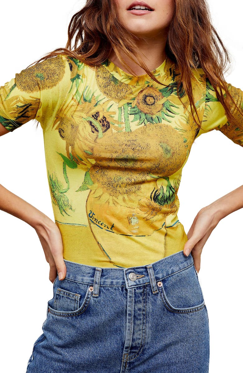 TOPSHOP Sunflower Print Graphic Tee, Main, color, 700