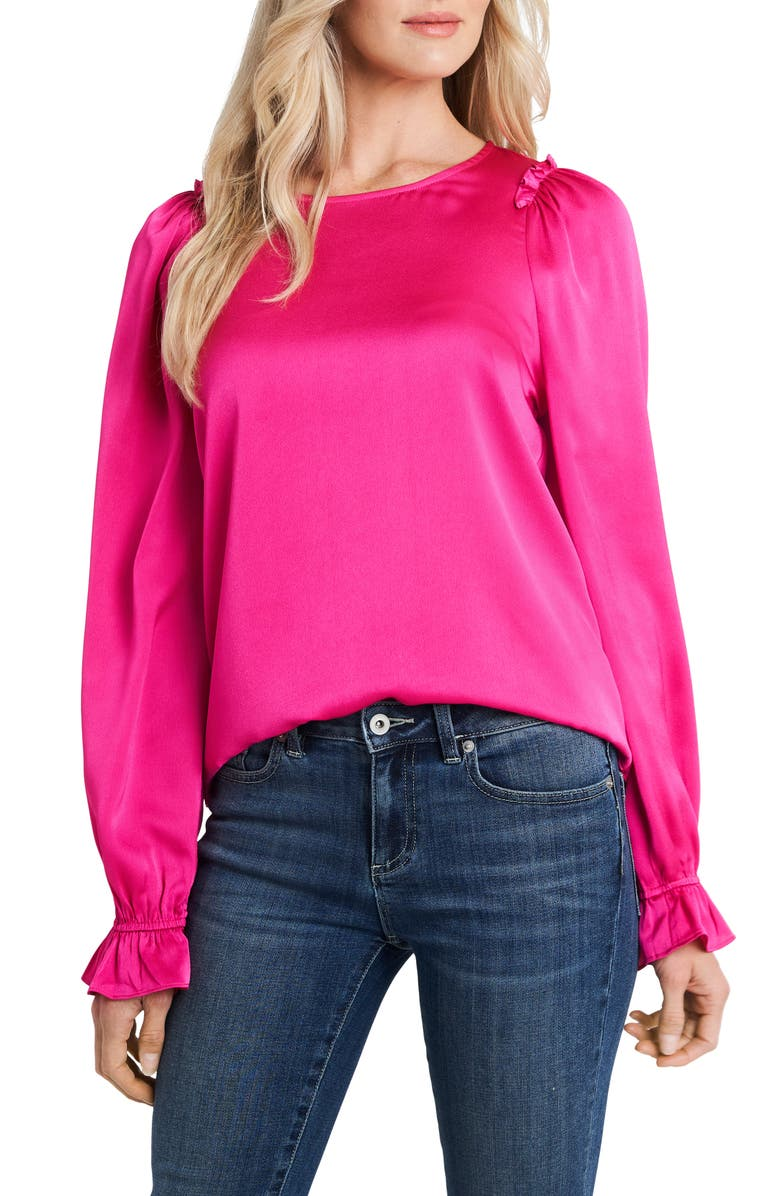 CECE Textured Satin Long Puff Sleeve Blouse, Main, color, AURORA PINK