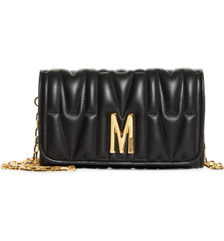 MOSCHINO Matelassé Leather Wallet on a Chain, Main, color, FANTASY PRINT BLACK