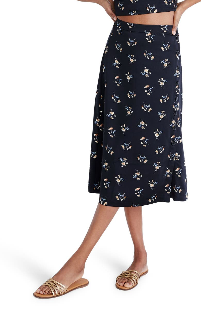 MADEWELL Daisy Print Side-Button Midi Skirt, Main, color, GENGY FLORAL TRUE BLACK