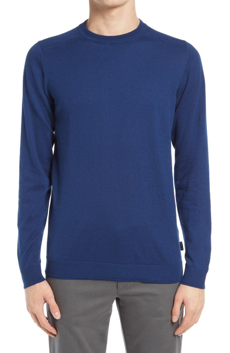 TED BAKER LONDON Sandkas Slim Fit Crewneck Sweater, Main, color, BLUE