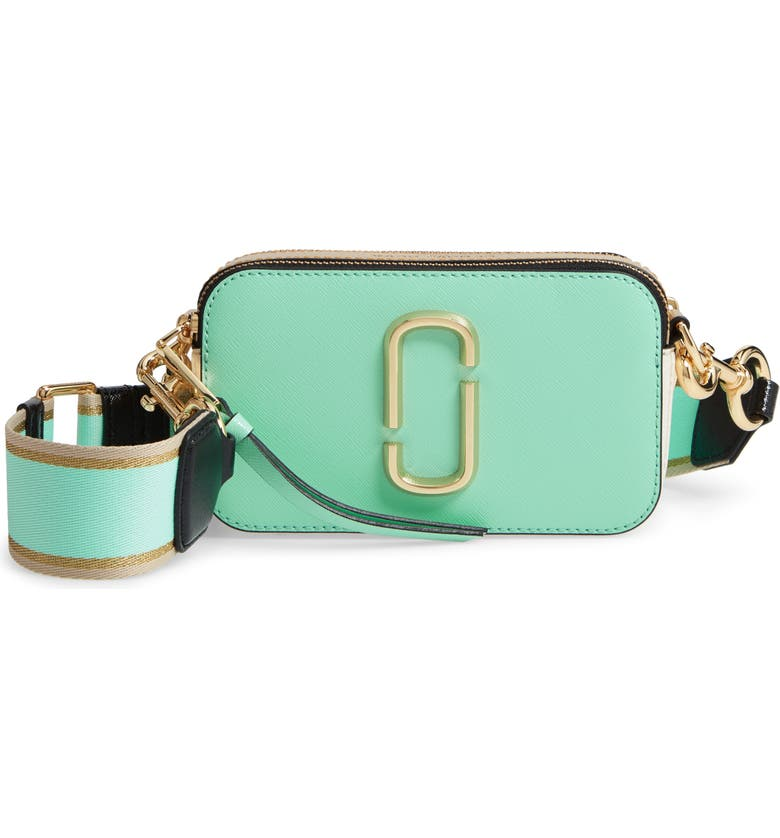 THE MARC JACOBS The Snapshot Leather Crossbody Bag, Main, color, MINT JULEP MULTI