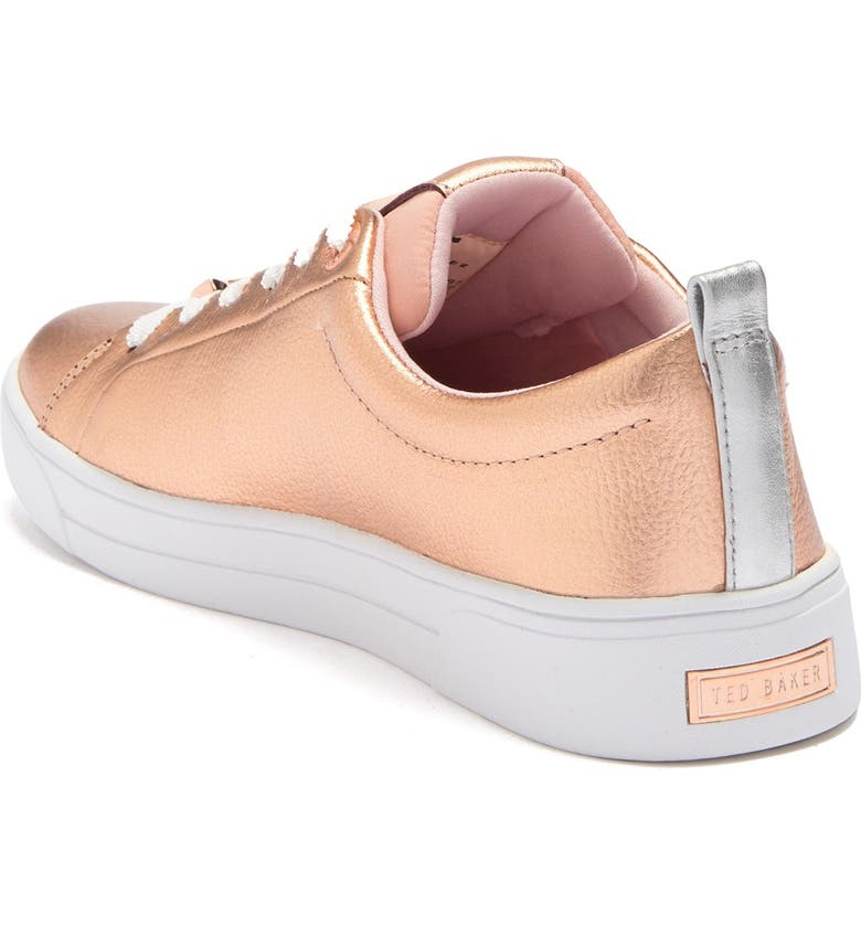 TED BAKER LONDON Gielli Metallic Leather Sneaker, Main, color, ROSE GOLD