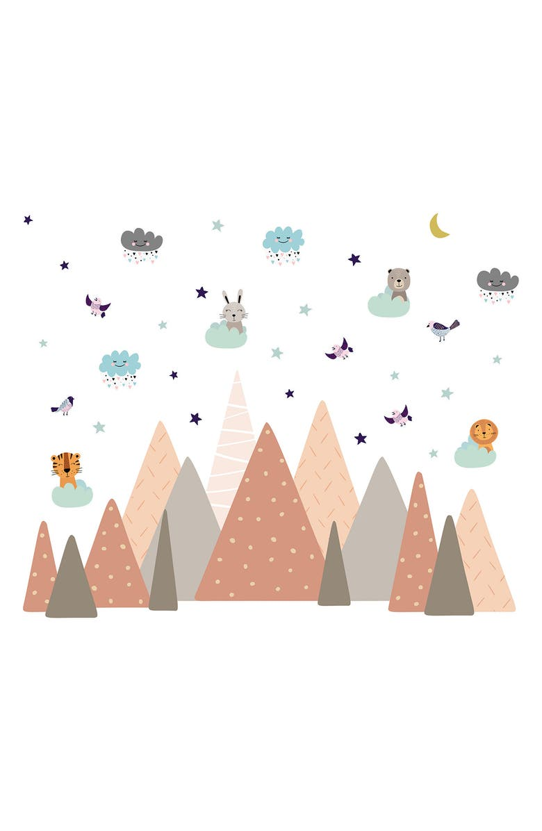 WALPLUS Grey Mountains Under The Glowing Moon Wall Decal Set, Main, color, MULTI