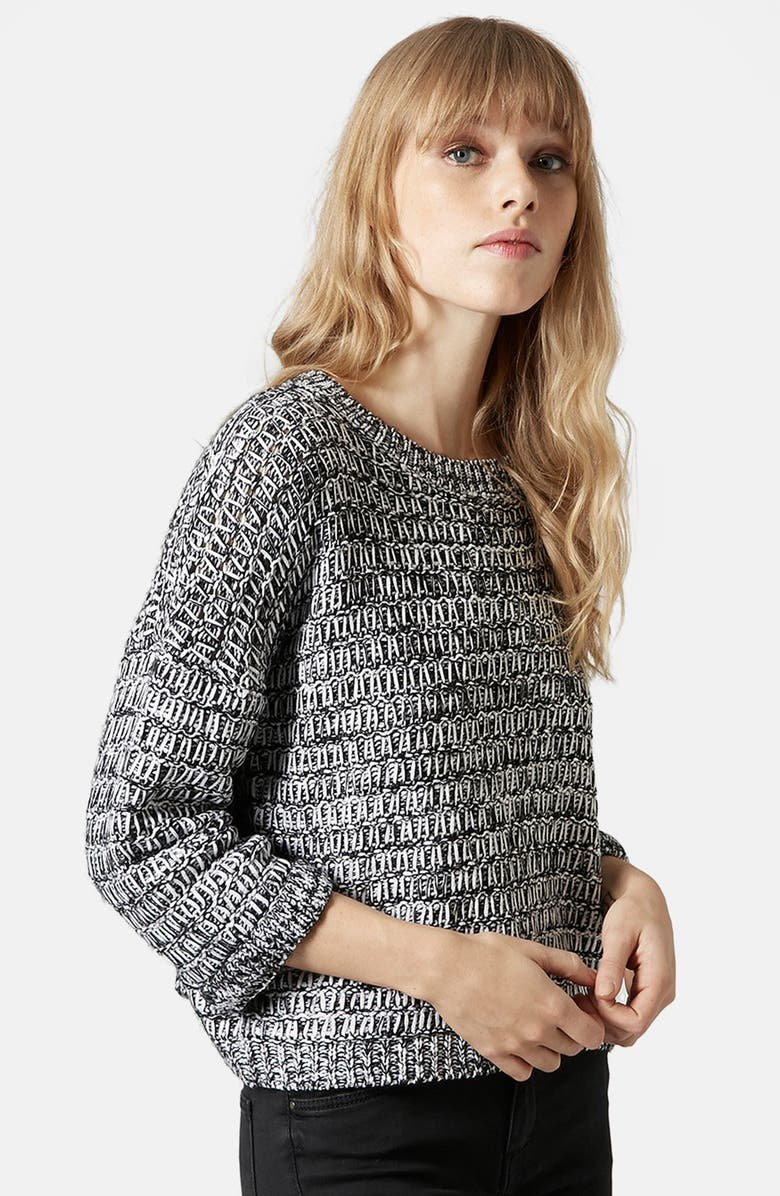 TOPSHOP Slouchy Marl Sweater, Main, color, Grey