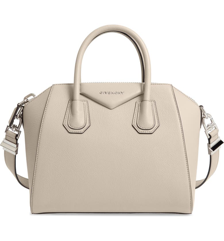 GIVENCHY Small Antigona Leather Satchel, Main, color, DUNE