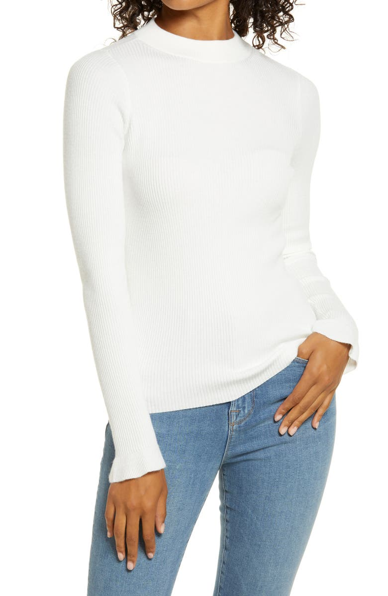 RACHEL PARCELL Mock Neck Ribbed Long Sleeve Sweater, Main, color, IVORY