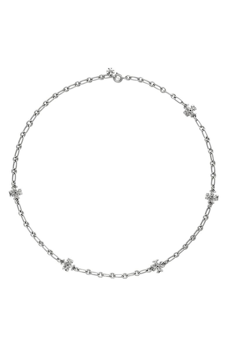 TORY BURCH Roxanne Chain Necklace, Main, color, WORN SILVER