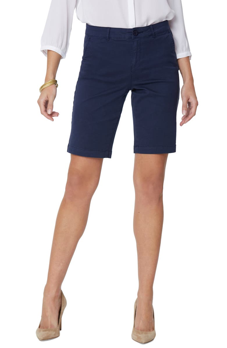 NYDJ Stretch Twill Bermuda Shorts, Main, color, EVENING TIDE