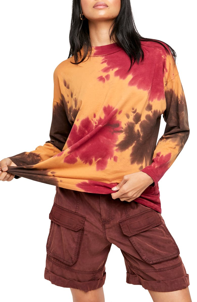 FREE PEOPLE Be Free Tie Dye Oversize Long Sleeve T-Shirt, Main, color, FRENCH ROAST