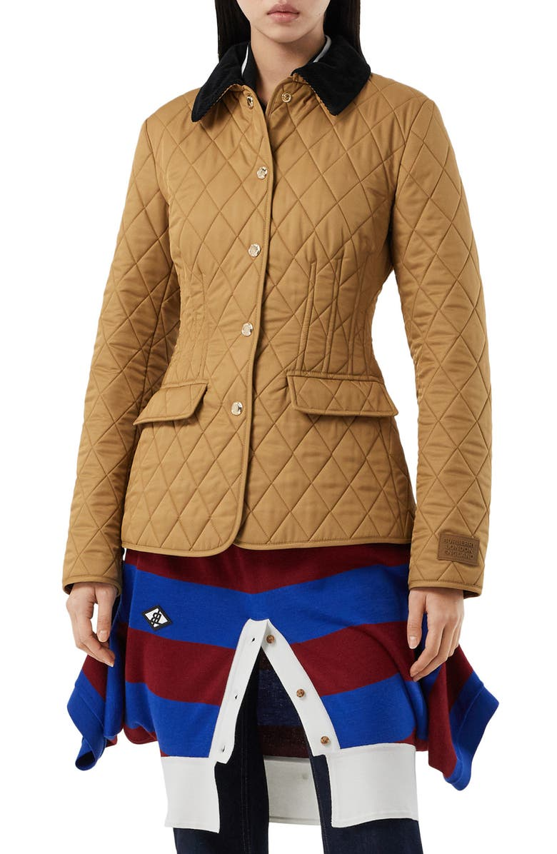 BURBERRY Fitted Diamond Quilted Barn Jacket, Main, color, CAMEL