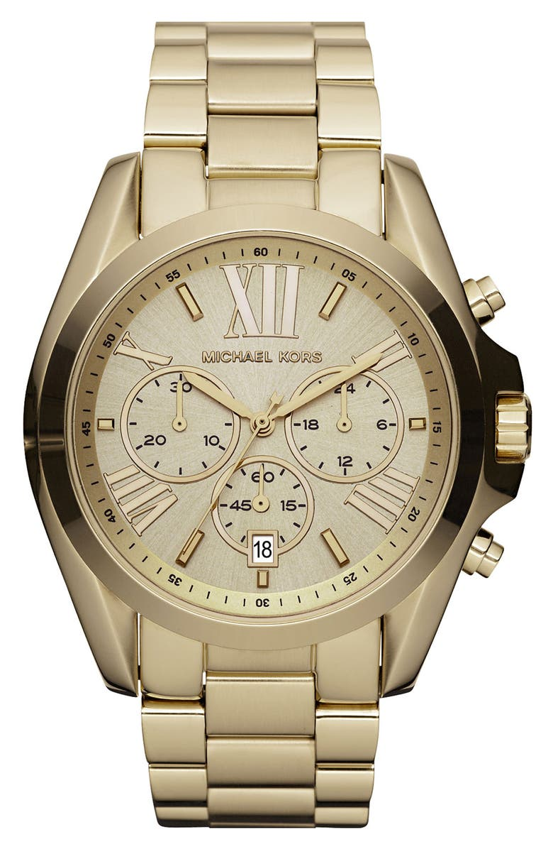 MICHAEL KORS 'Bradshaw' Chronograph Bracelet Watch, 43mm, Main, color, GOLD/ GOLD
