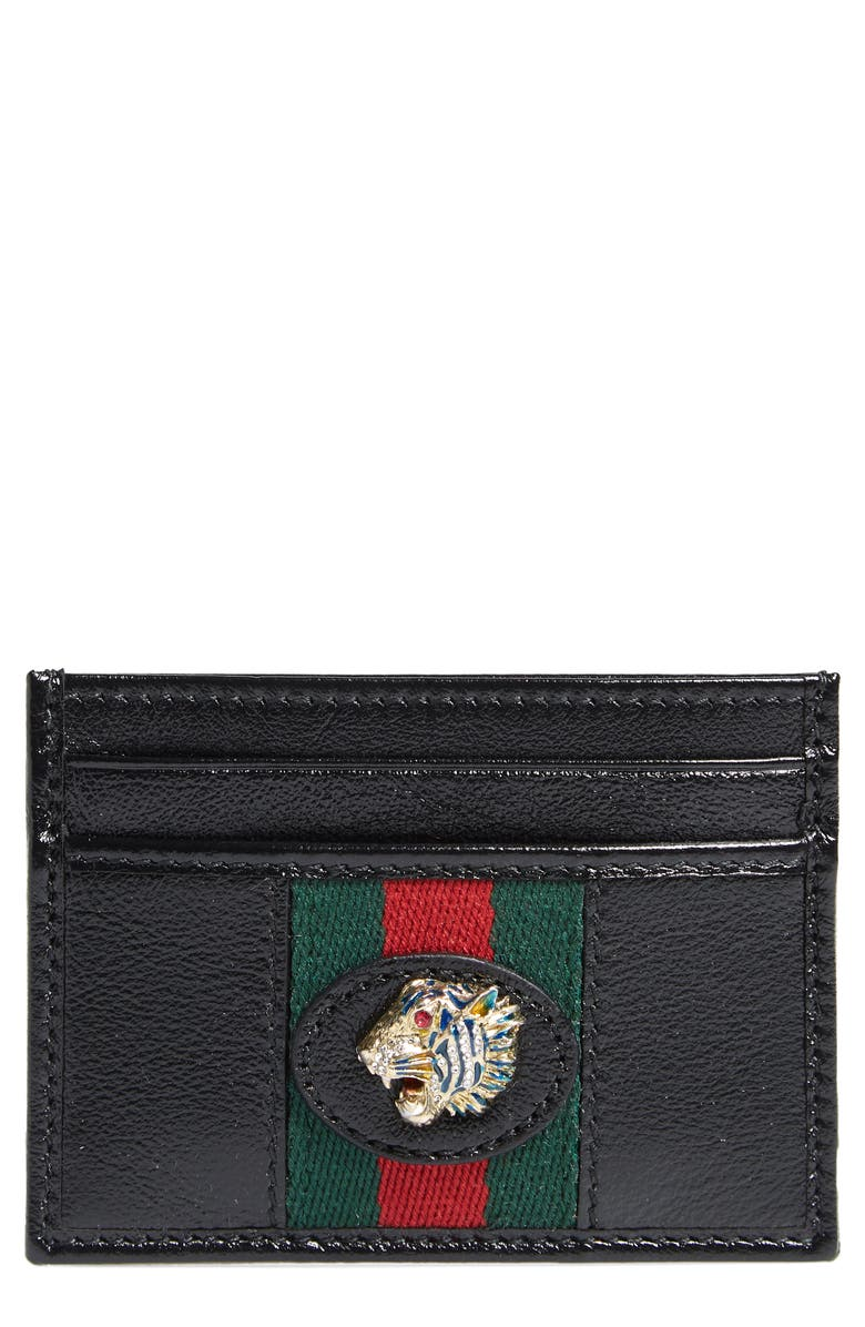GUCCI Leather Card Case, Main, color, 001