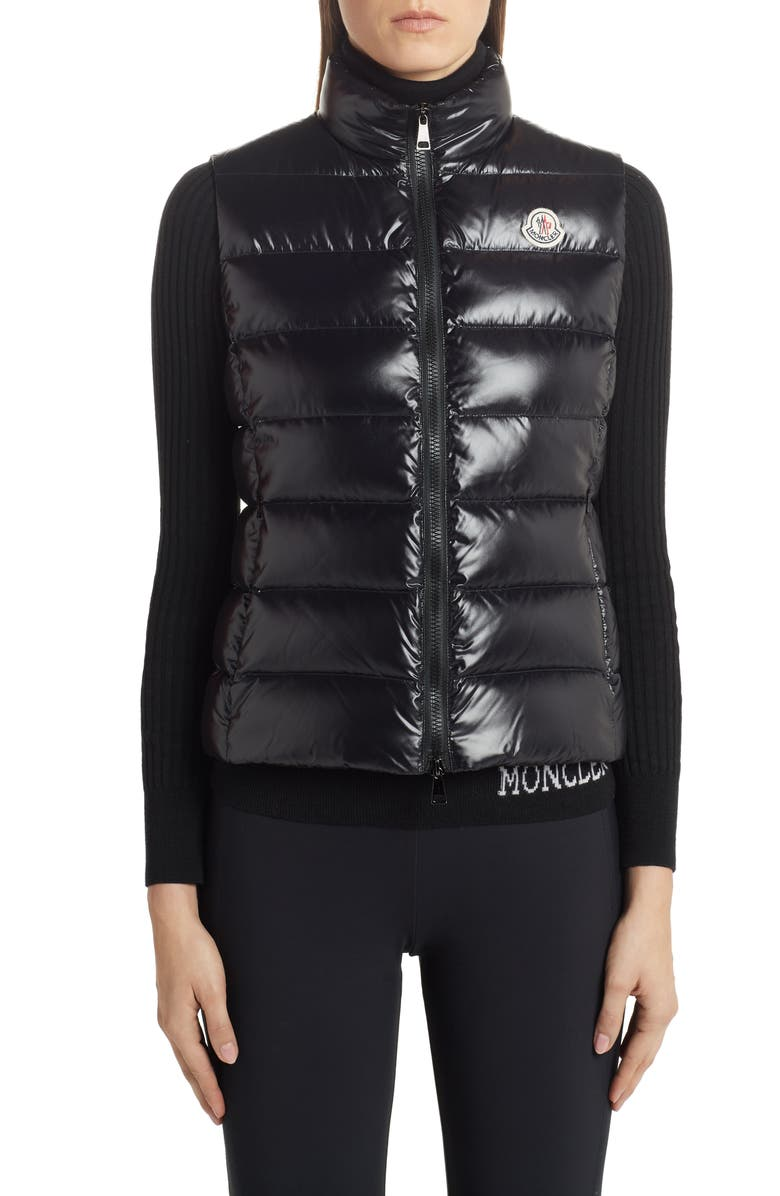 MONCLER Ghany Water Resistant Shiny Nylon Down Puffer Vest, Main, color, 002